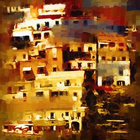 山城建筑油画