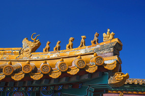 北京紫禁城古建筑飞檐构件