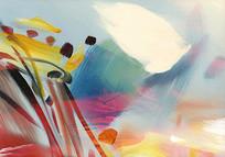 高灰调抽象油画