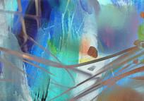 蓝色的抽象油画