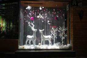 圣诞节驯鹿橱窗夜景