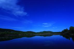 森林湖星夜蓝色天空