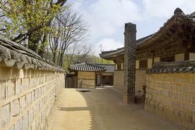 韩国民俗村龙驹衙门围墙及过道