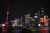 上海夜景外滩风光东方明珠塔