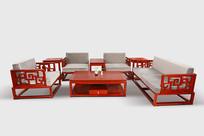 红木配套沙发茶几