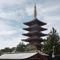 日本浅草寺的佛塔