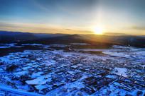 大兴安岭林森林小镇雪景暮色
