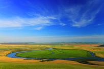 呼伦贝尔草原河流地理风光