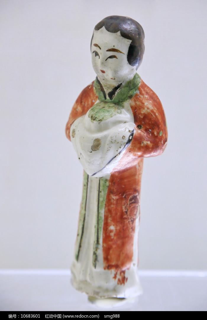 仕女俑红绿釉金代图片