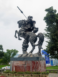 重庆云阳张飞骑马塑像