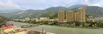 汶川县城及岷江桥梁俯拍
