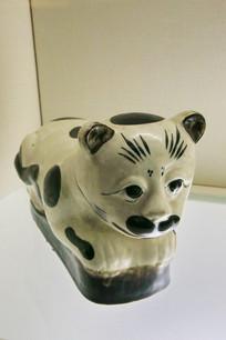 白地黑彩瓷猫枕头民国