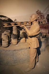 古人制作瓷器雕像