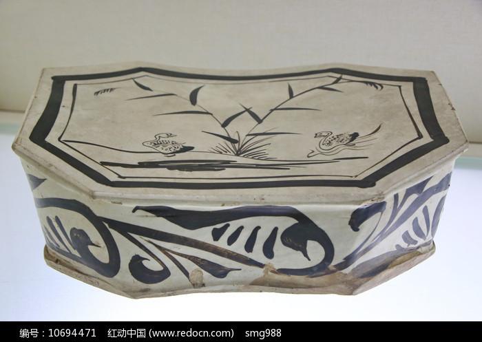 金代双鸭图八角形枕头图片