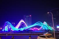 武汉光谷广场星河夜景-此起彼伏