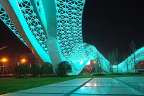 武汉光谷广场星河夜景-绿色飞龙