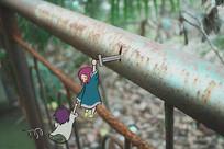 抓住掉落的人-护栏绘画