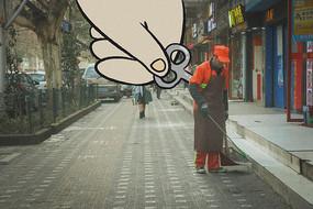 环卫工人打扫街道创意画