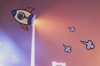 火箭-路灯创意插画