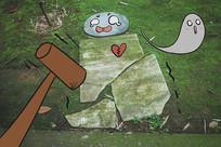 锤子敲碎搞怪地板小人创意插画