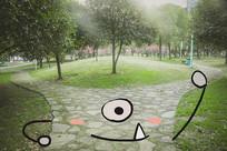 公园小道叉腰创意画