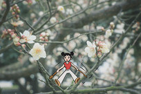 樱花小人弹弓发射创意画