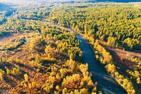 航拍大兴安岭秋季密林河湾