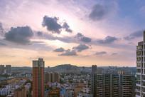 城市夏日夕阳