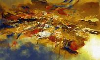 荷塘月色抽象画