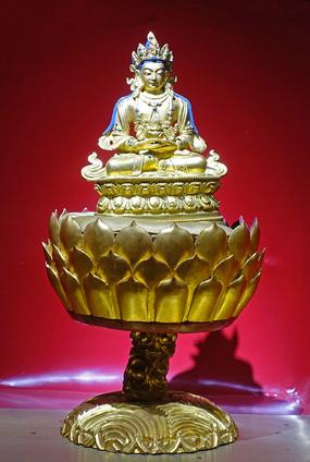 清朝鎏金无量寿佛铜像