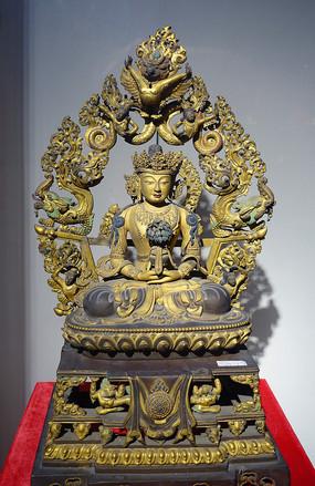 清代鎏金无量寿佛铜像