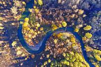 河湾彩林风景(航拍)