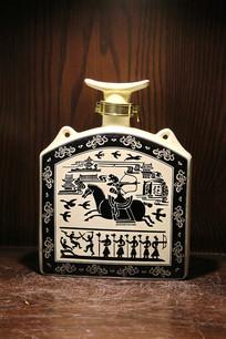 狩猎图磁州窑酒瓶