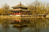 北京圆明园鉴碧亭及湖水