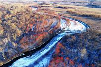 航拍冰河河湾红树林冬景
