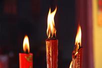 红烛火焰特写