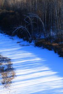 冰封河流密林风景