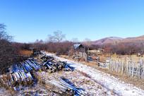 冬季边塞村庄农家风景