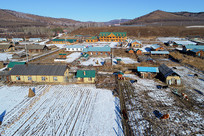 中俄边境农家院雪景