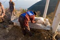 重庆巫山高山农家宰杀过年猪