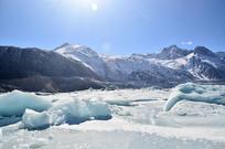 蓝天冰川雪山风光
