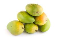 绿色食品芒果白背景摄影图