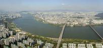 韩国首尔汉江两岸城市全景俯拍