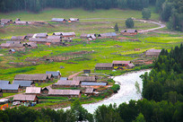 美丽的新疆喀禾木木屋摄影图片