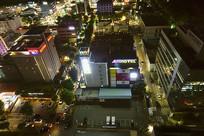 夜晚的韩国水原市城市风光
