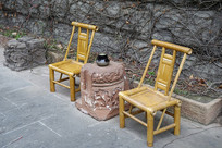成都皇城老妈火锅店的竹椅