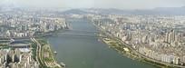 韩国首尔汉江两岸城市俯瞰全景图