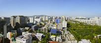 韩国水原城市风光俯拍全景