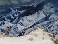 红军翻雪山雕塑