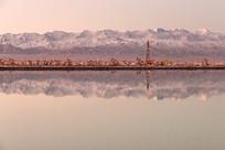 晨曦里雪山下的油田
